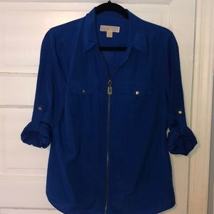 Michael Michael Kors blue zip blouse Large